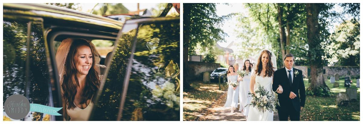 Bride Sarah arrives at her wedding in Norfolk.