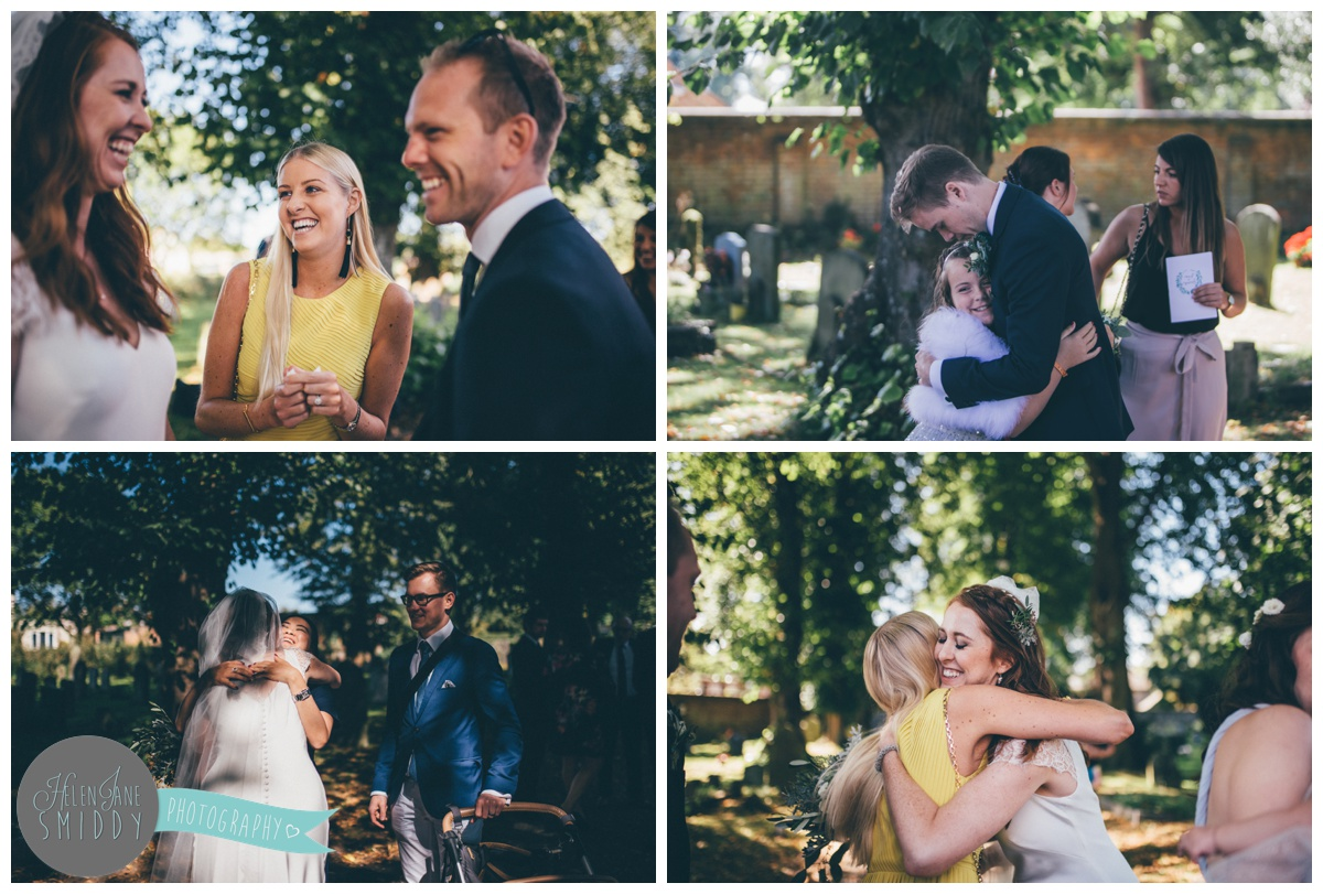 Norfolk wedding guests greet the bride and groom after their beautiful ceremony.