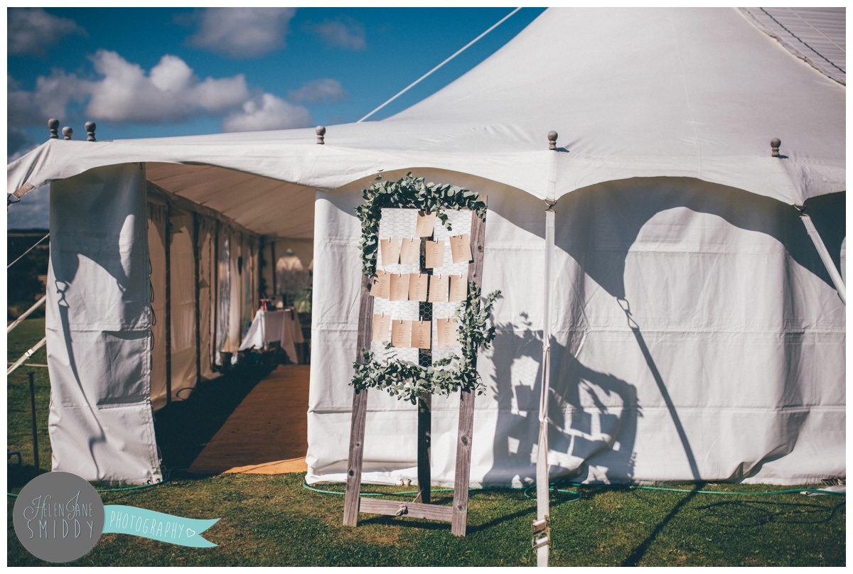 Table plan outside marquee at Barn Drift in Norfolk.
