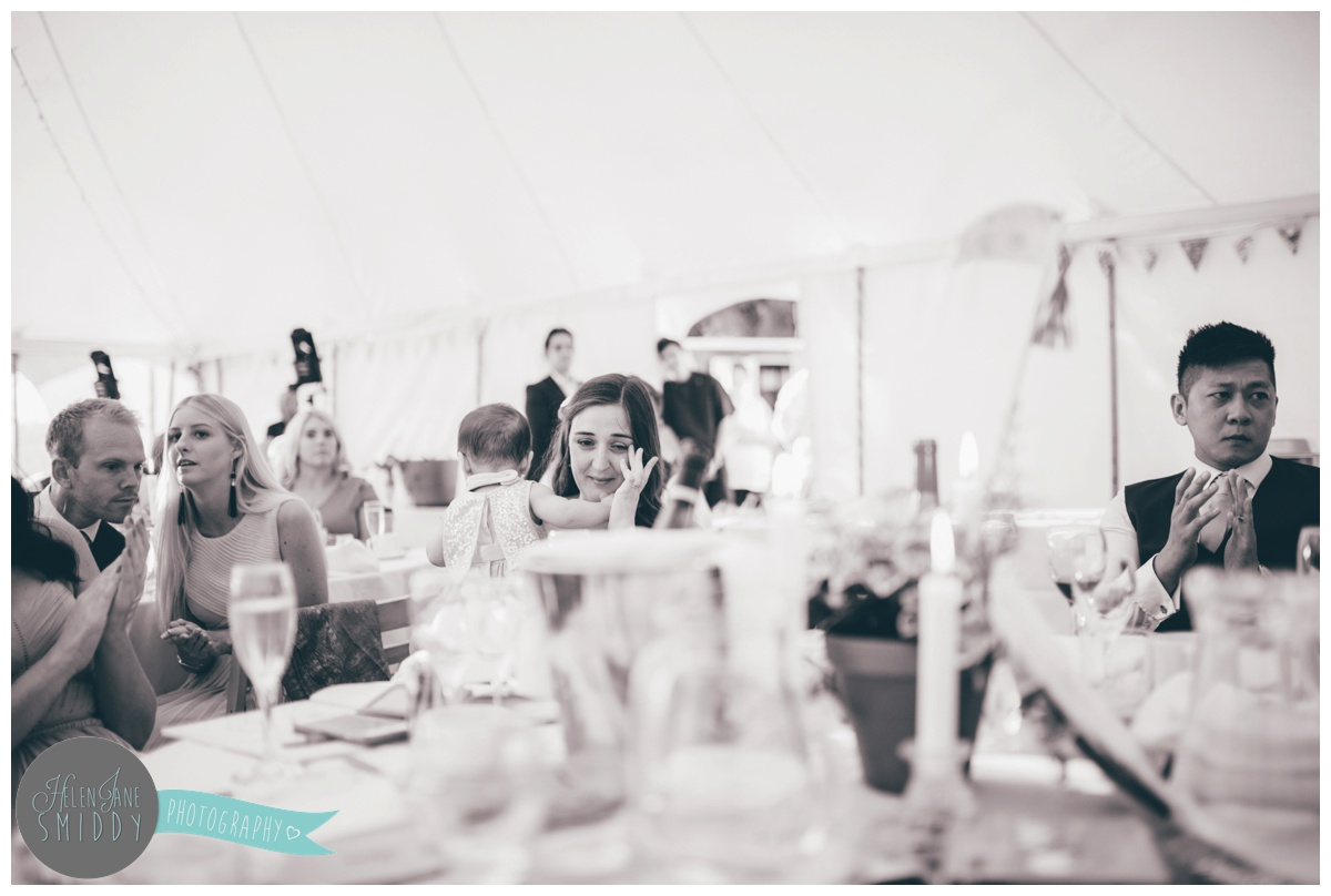 Weddings speeches shot by Cheshire wedding photographer at Barn Drift in Norfolk.