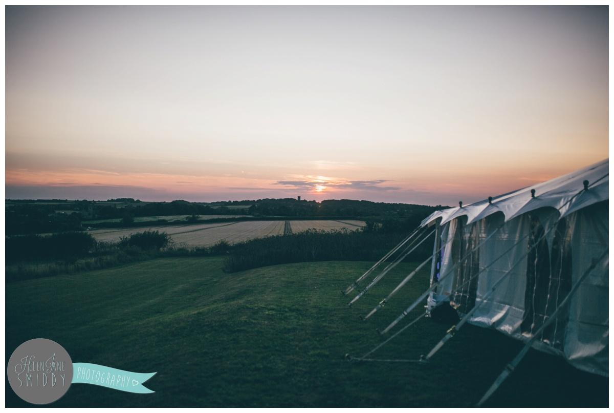 Stunning sunset at Barn Drift wedding in Norfolk.