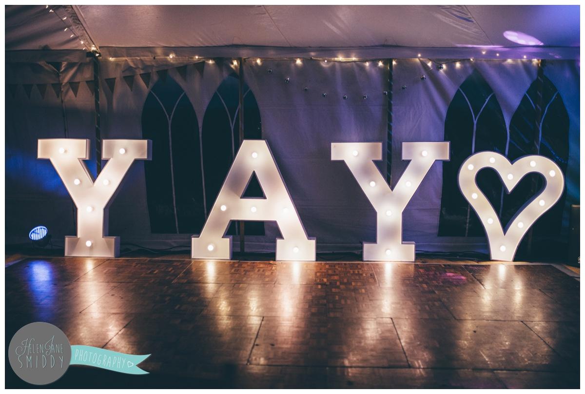 YAY dancefloor lights at Barn Drift wedding in Norfolk.