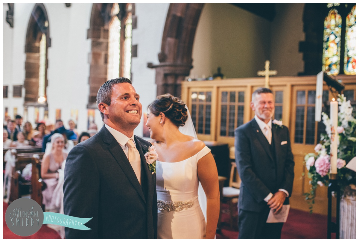 Wedding ceremony in Stockton Heath church, Cheshire.