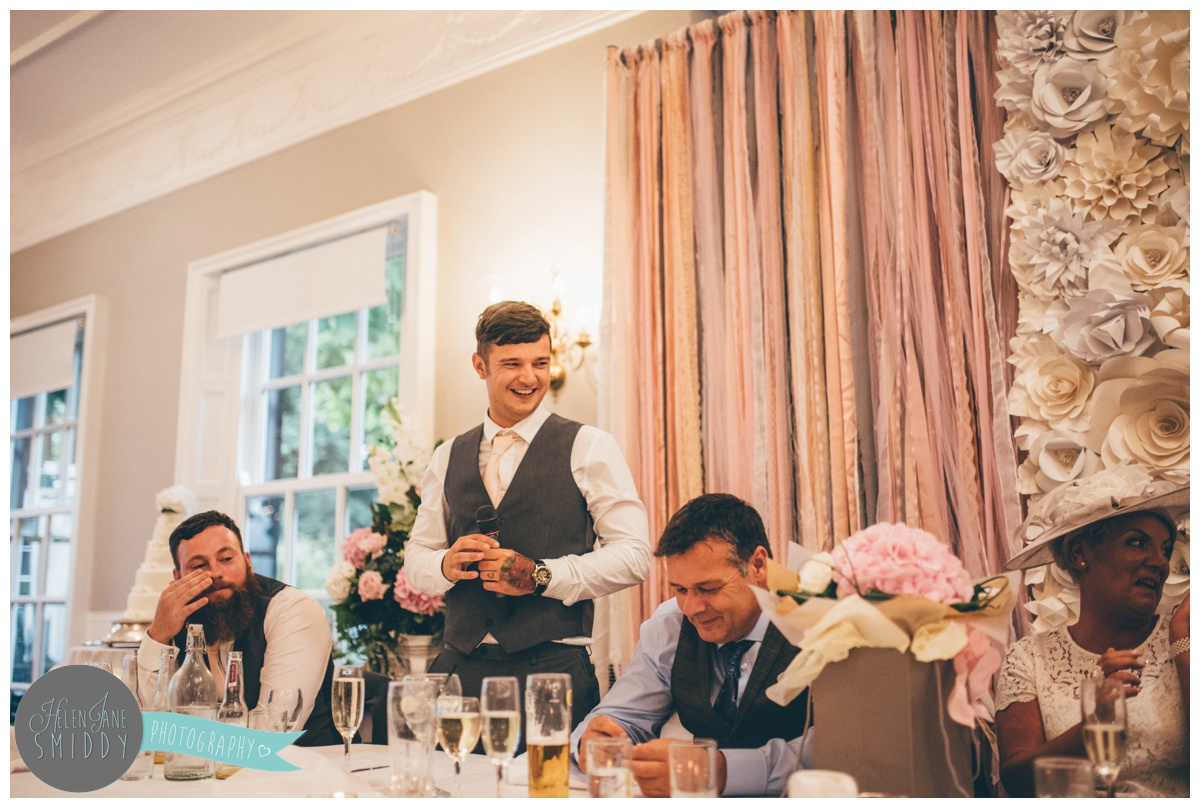 wedding speeches at Statham Lodge in Cheshire.