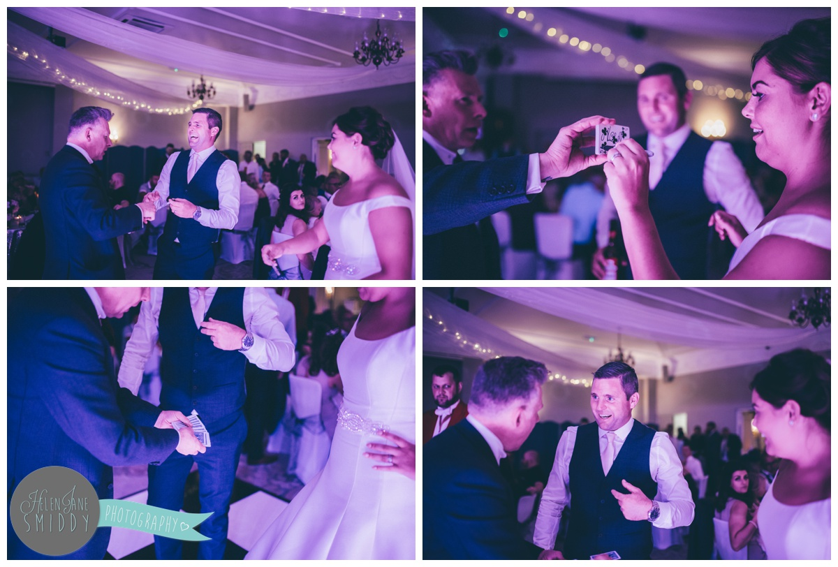 The Cheshire magician entertains the bride and groom with magic tricks.