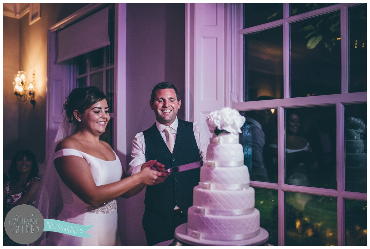 The bride and groom cut their stunning and simple wedding cake.