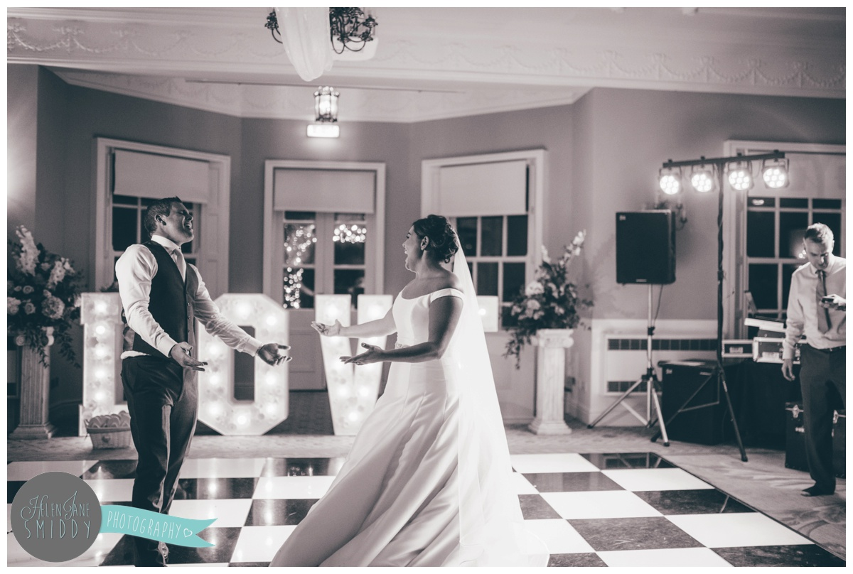 The Bride and Groom take to the dancefloor for their first dance at Statham Lodge in Cheshire.