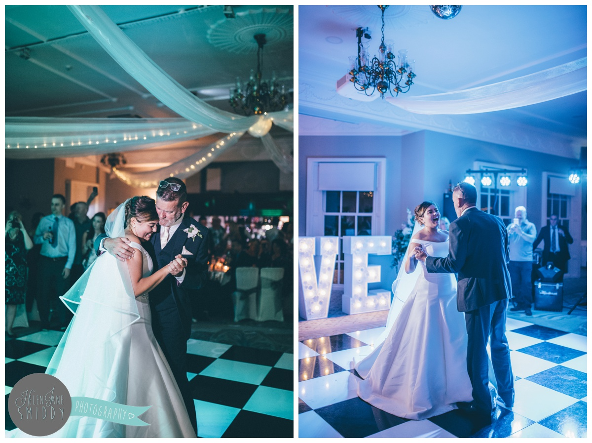 The bride and her Dad have an emotional first dance at Statham Lodge in Cheshire.
