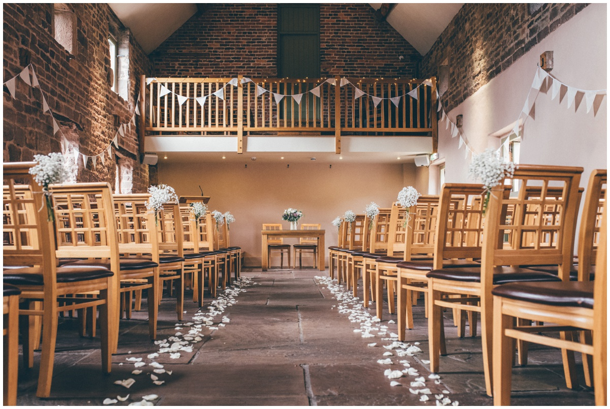 The ceremony room at The Ashes wedding barn in Staffordshire.
