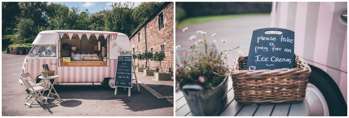 Cute ice cream van at a summertime wedding  at The Ashes wedding barn in Staffordshire.