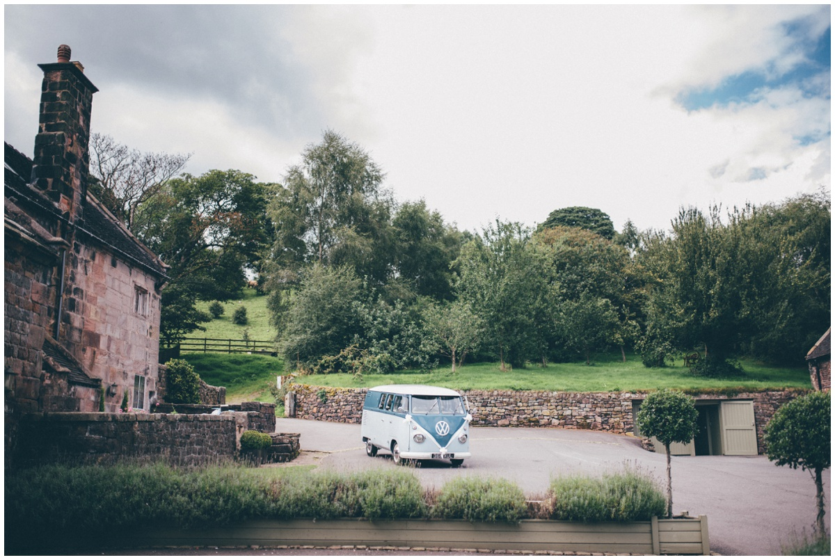 Volkswagon camper van parked up at The Ashes wedding barn in Staffordshire.