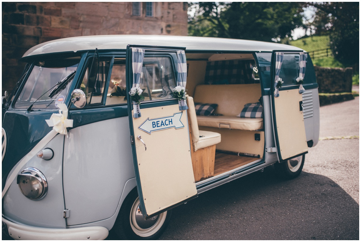 Wedding themed Volkswagon campervan at The Ashes wedding barn in Staffordshire.