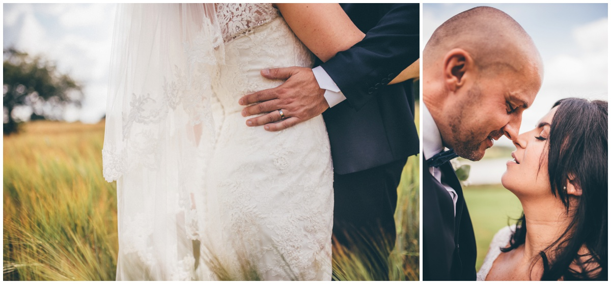 The couple have their wedding portraits taken in a cornfield at The Ashes wedding barn in Staffordshire.