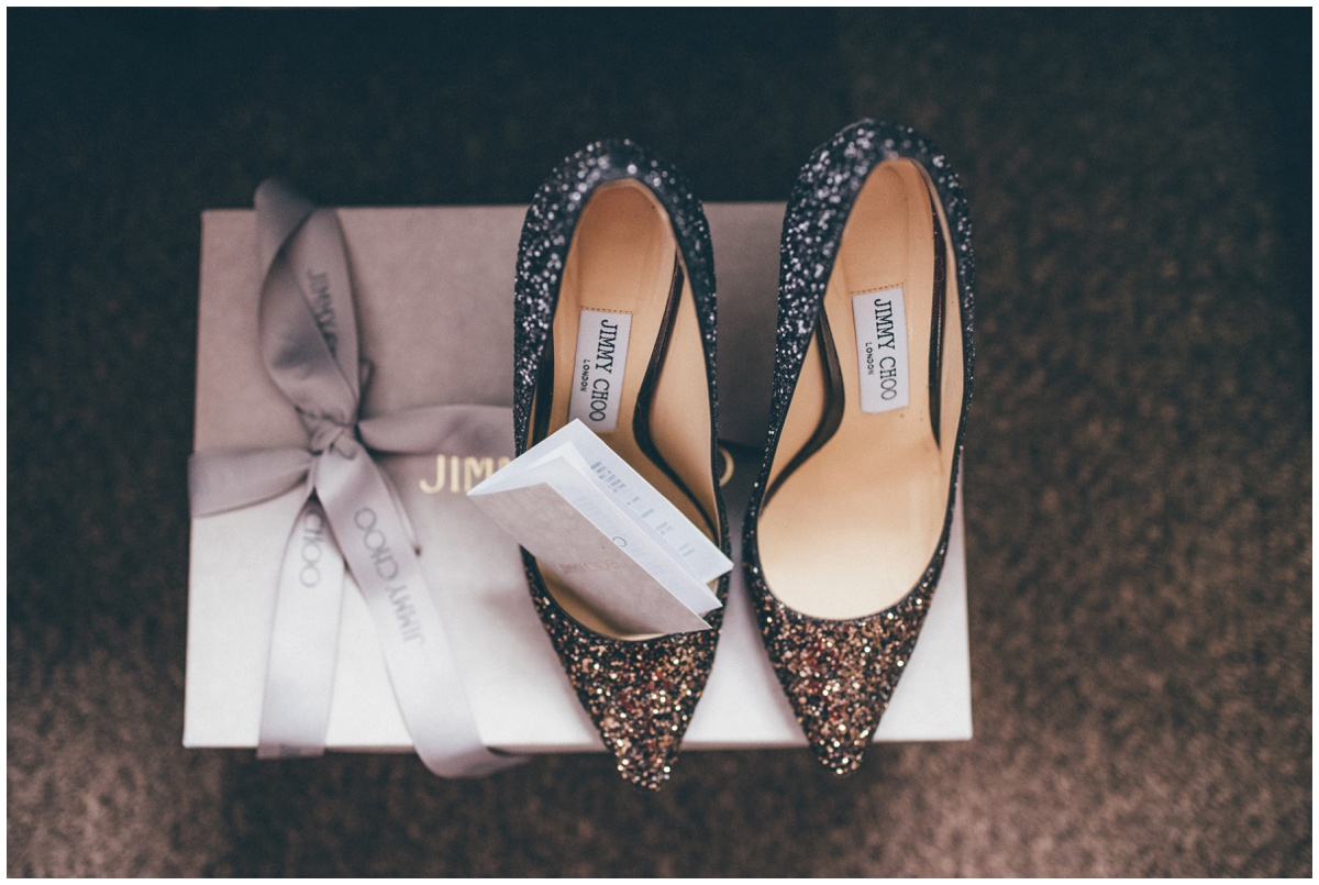 The Manchester bride's stunning sparkling Jimmy Choo bridal shoes.