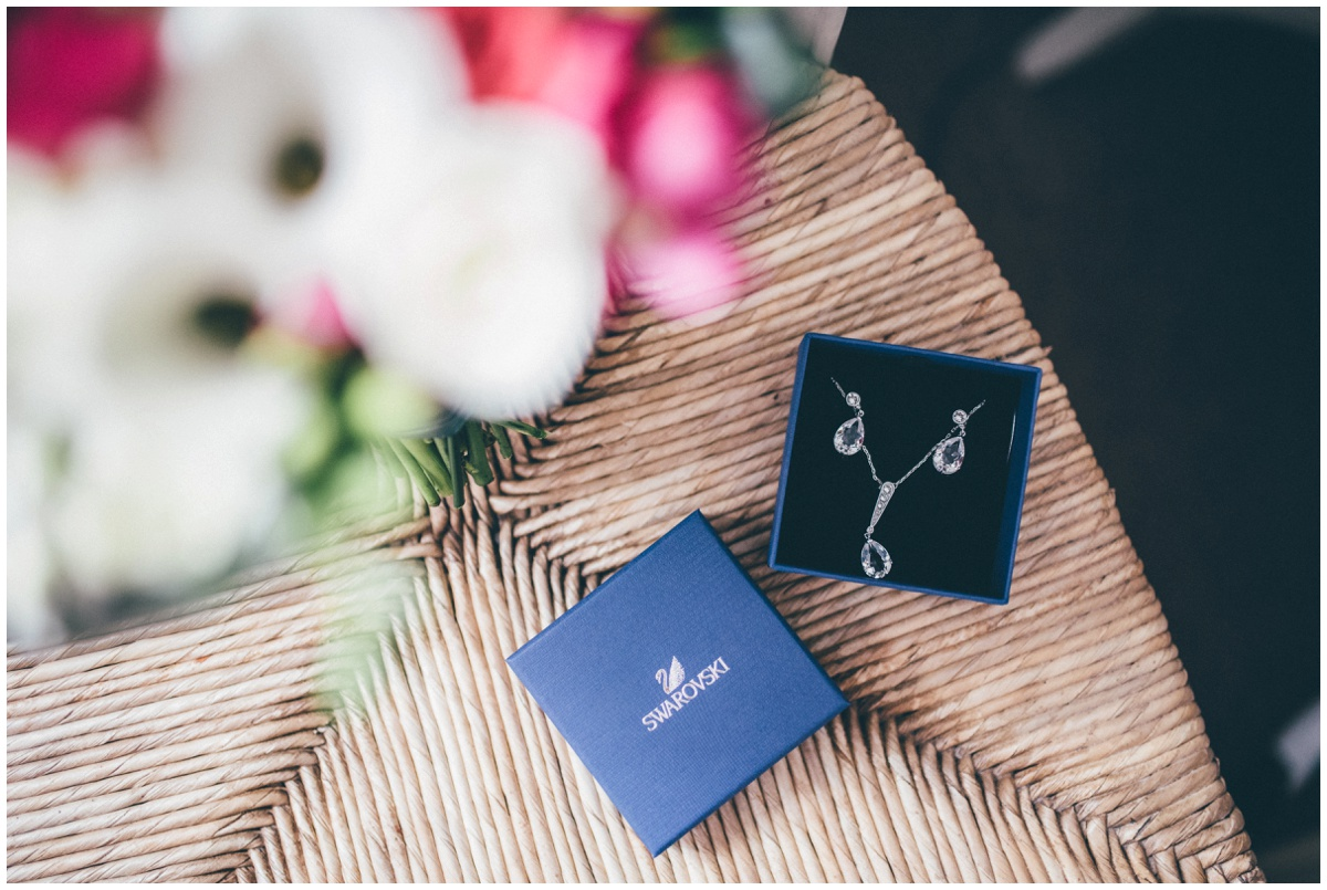 The Manchester bride's beautiful Swarovski jewellery is laid out on the morning of her wedding.