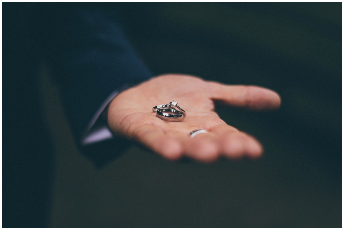 A close up and detailed shot of the beautiful wedding rings before the wedding ceremony.