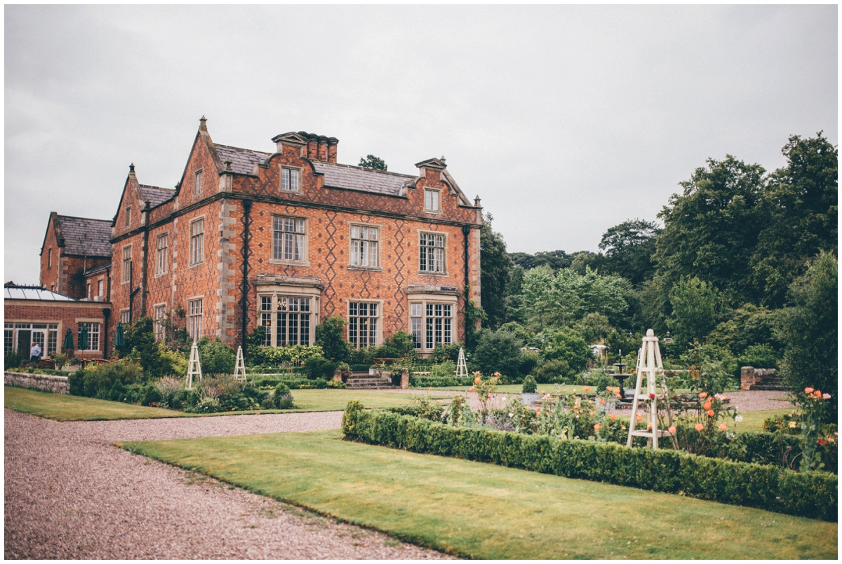 The stunning extrior and beautiful gardens of Willington Hall in Cheshire.