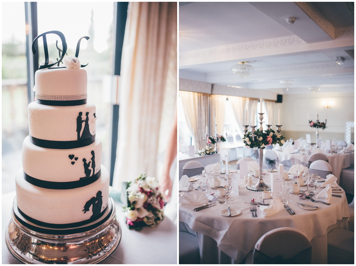 The silhouette wedding cake and table plan at a Willington Hall wedding in Cheshire.