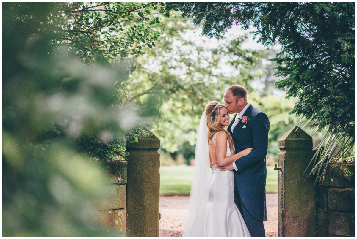 Couple portraits in the beautiful gardens at Willington Hall.