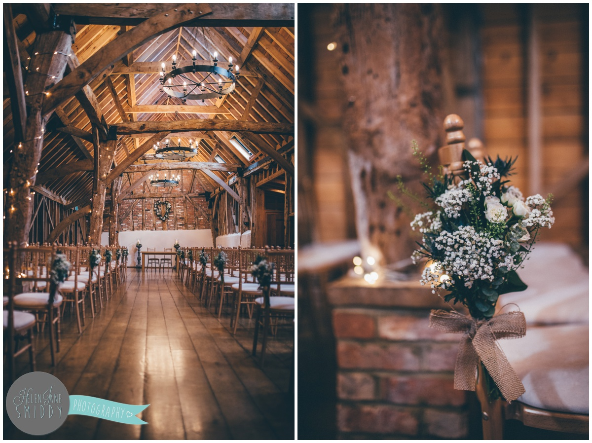 Ceremony room at a Mexican themed wedding at Bassmead Manor Barns.
