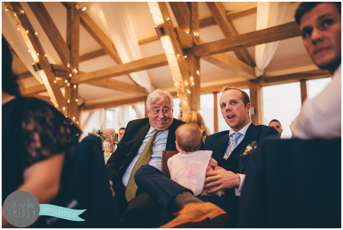 Wedding speeches at Bassmead Manor wedding barns.