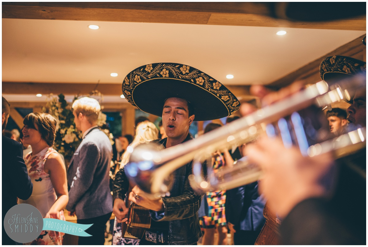 The mariachi band steal the show at Bassmead Manor wedding reception.