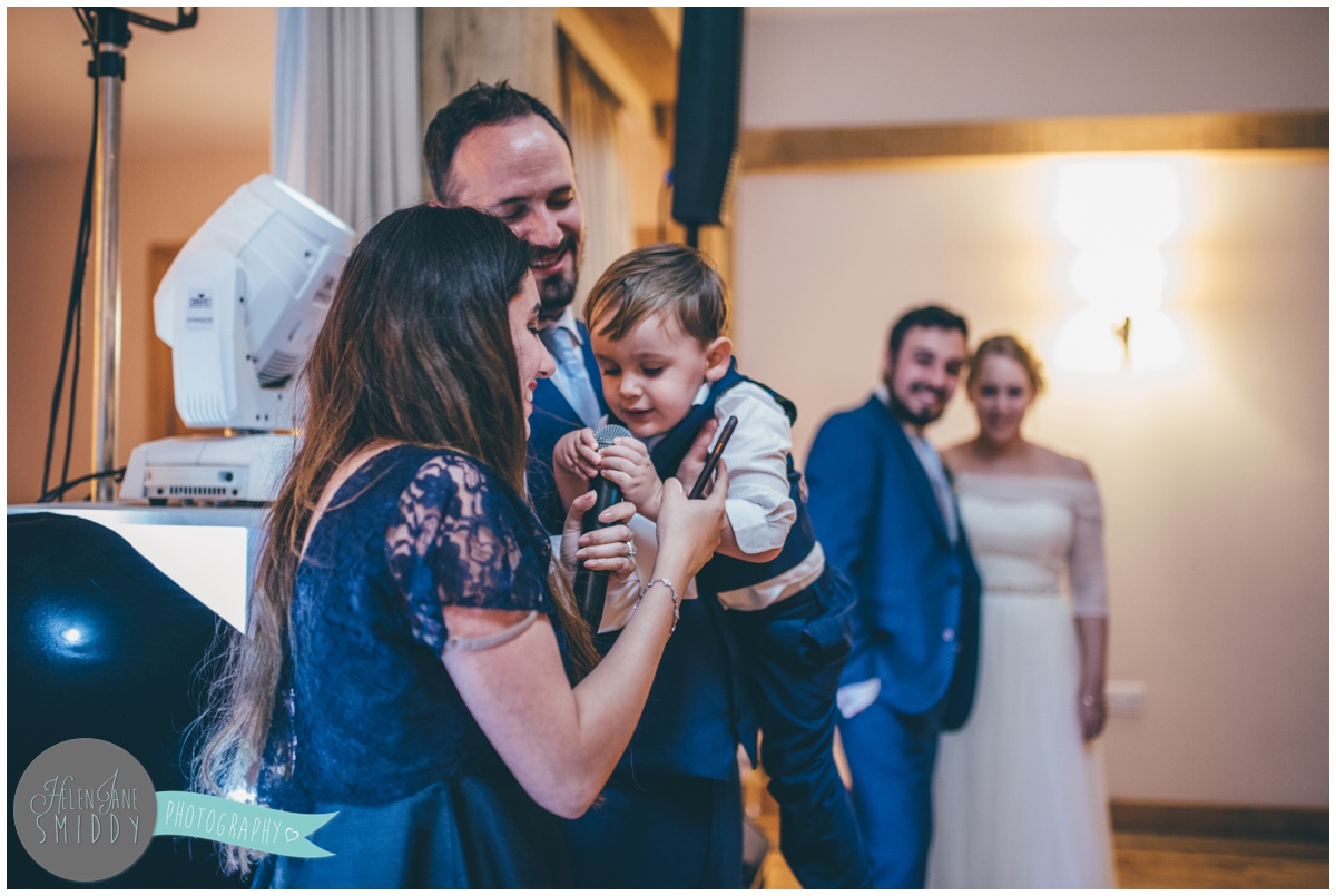Sister of the groom tries to do he speech but the cute pageboy keeps interrupting.
