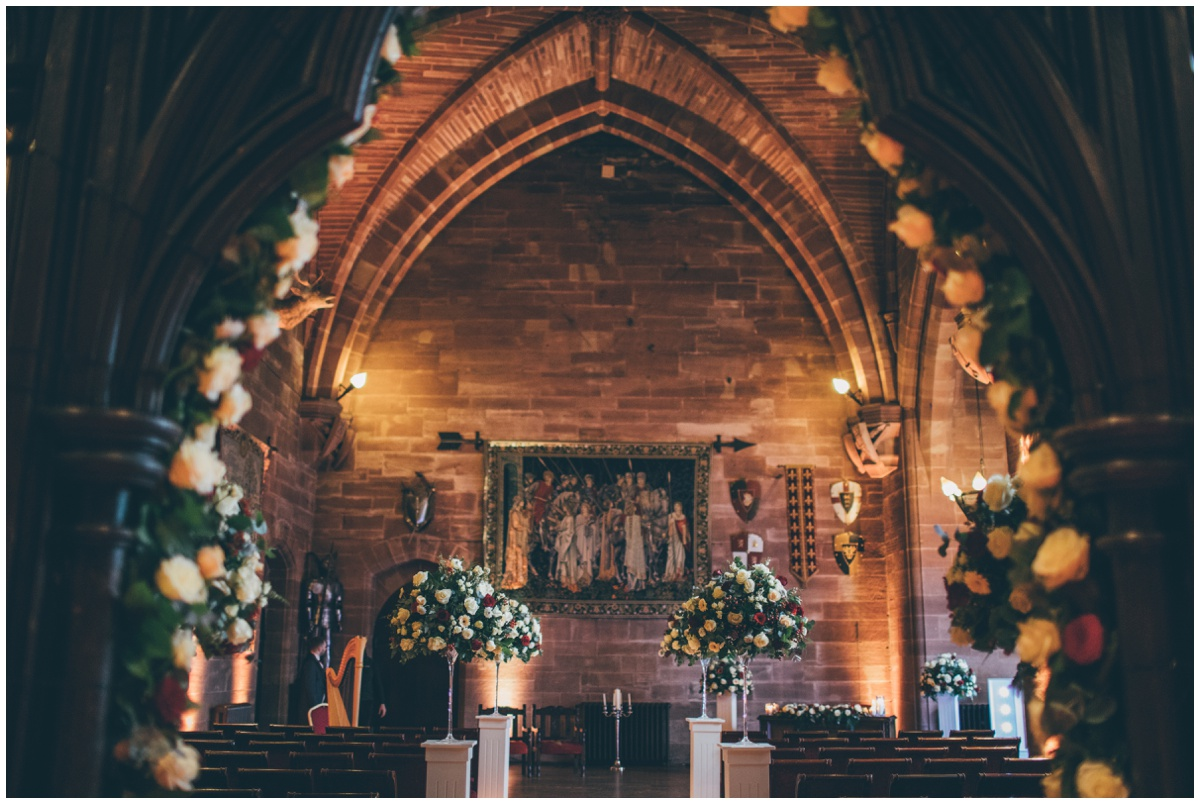 Stunning great hall at Peckforton Castle.