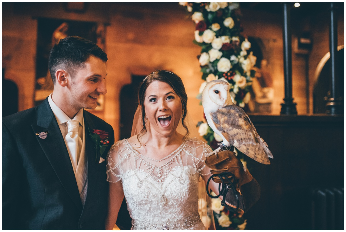 An owl delivered the rings to the bride and groom at Cheshire fairytale wedding.