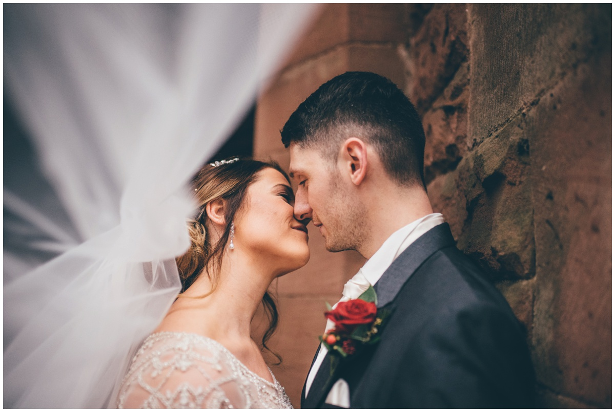 The bride's beautiful veil at Peckforton Castle.