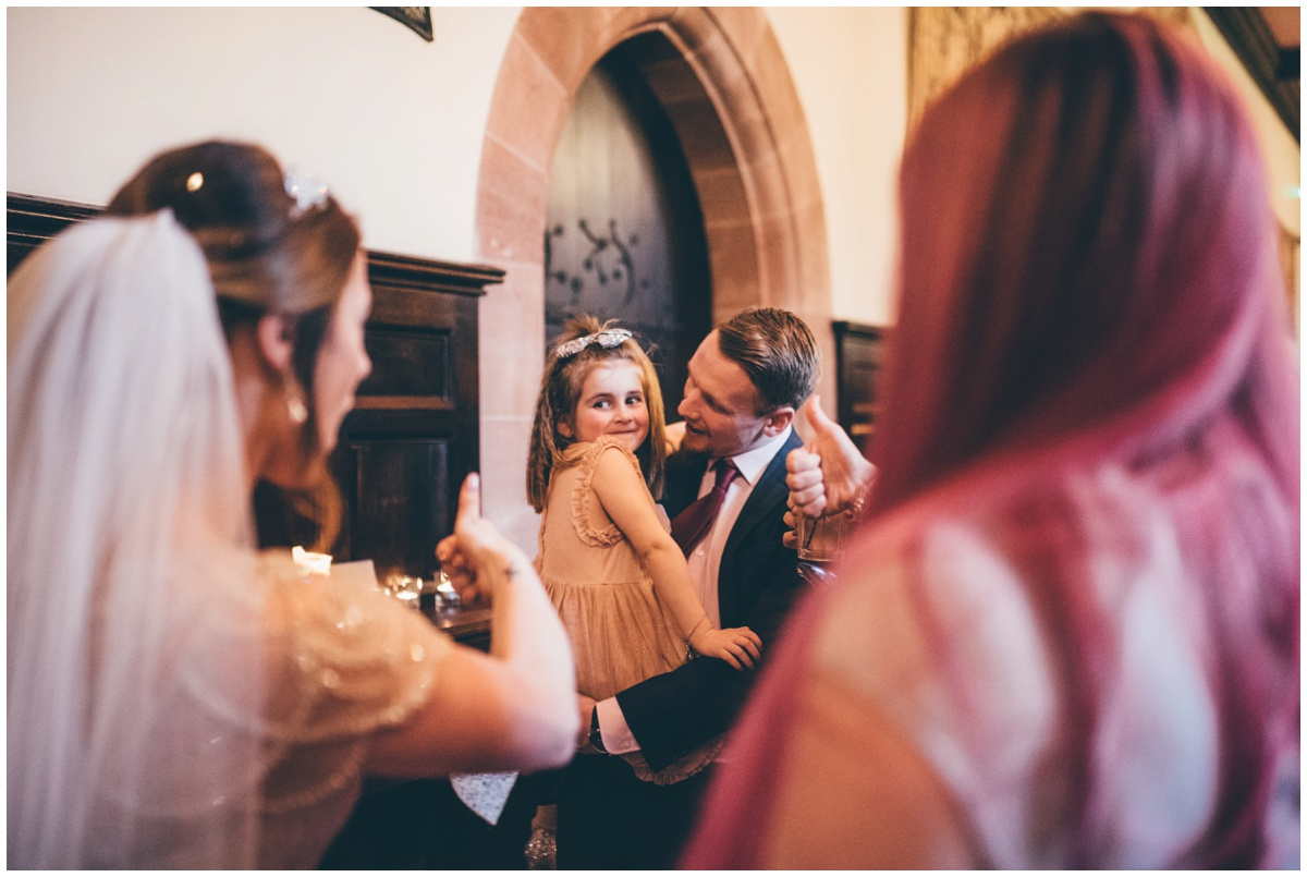 Guests greet the bride and groom at their fairytale wedding in Cheshire.