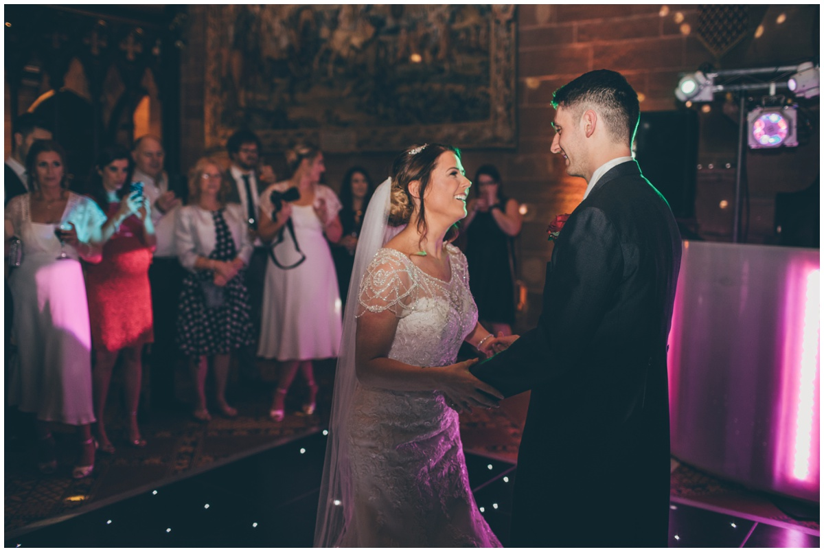 Bride and groom's First Dance at Peckforton Castle.