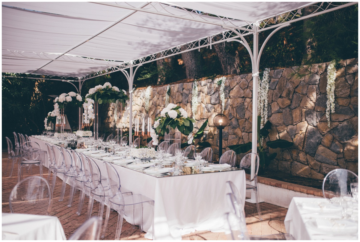 Stunning table set up at Hotel Garden Riviera in Santa Maria Di Castellabate for a destination wedding.