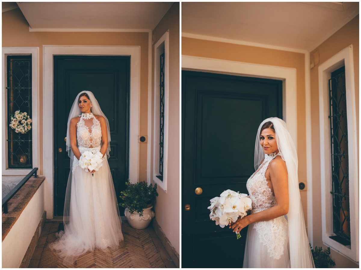 Beautiful bride is ready for her destination wedding in Italy.