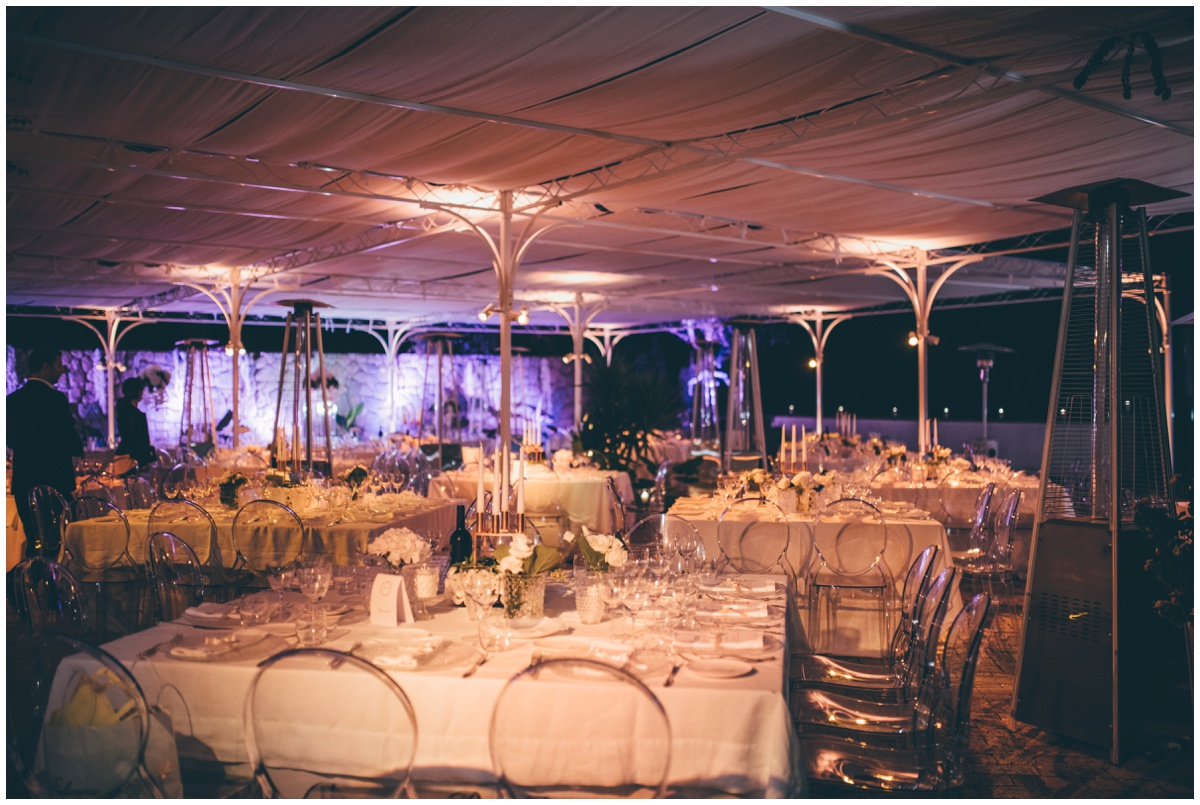 Beautiful Hotel Garden Riviera wedding set-up at an Italian Destination wedding.