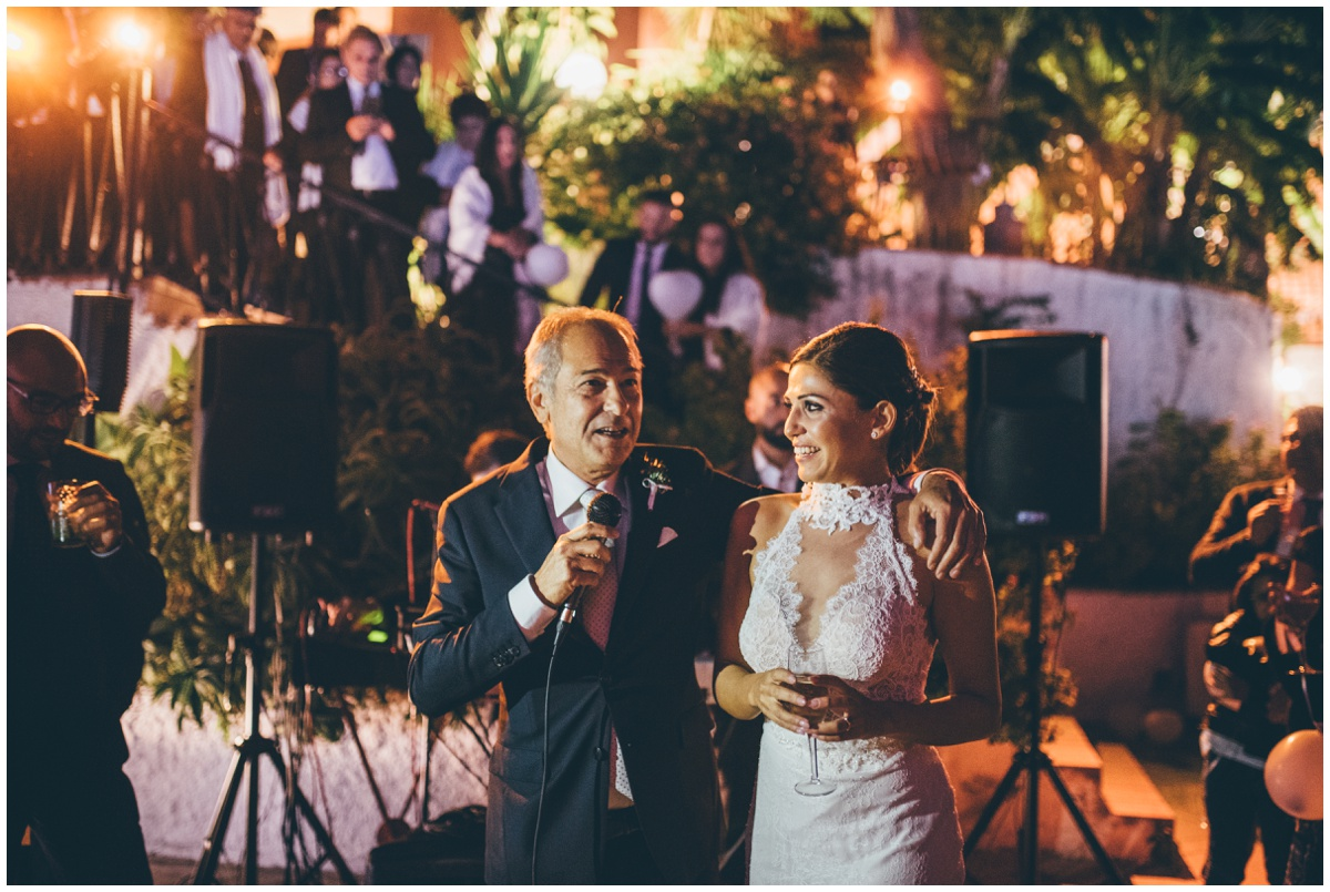 Gorgeous outdoor Father of the bride speech at an Italian destination wedding..