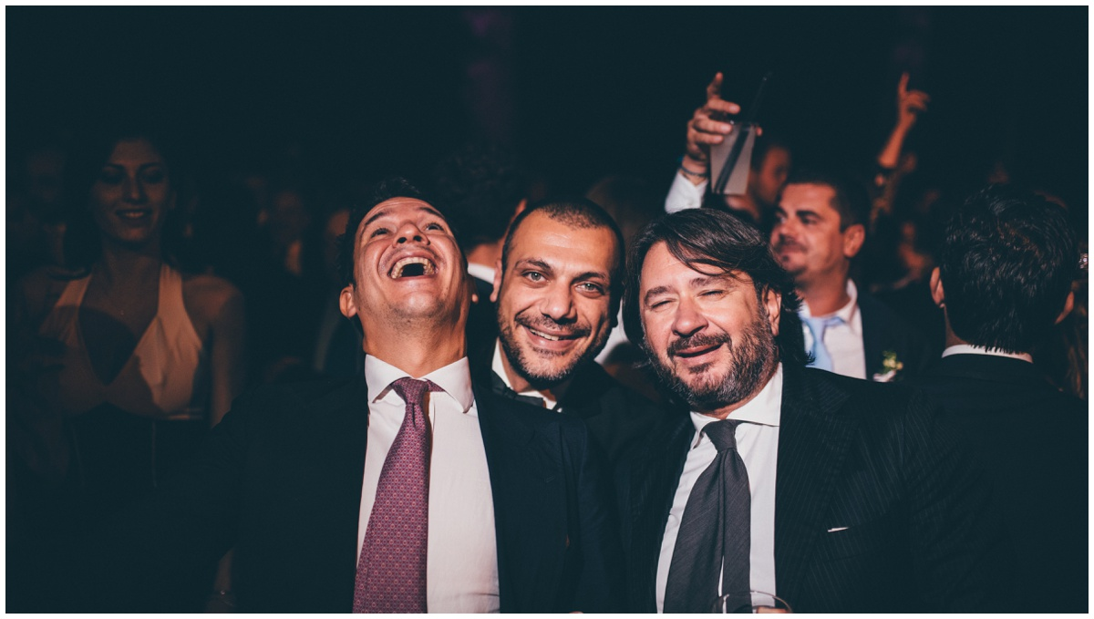 Partying guests at the Italian destination wedding.