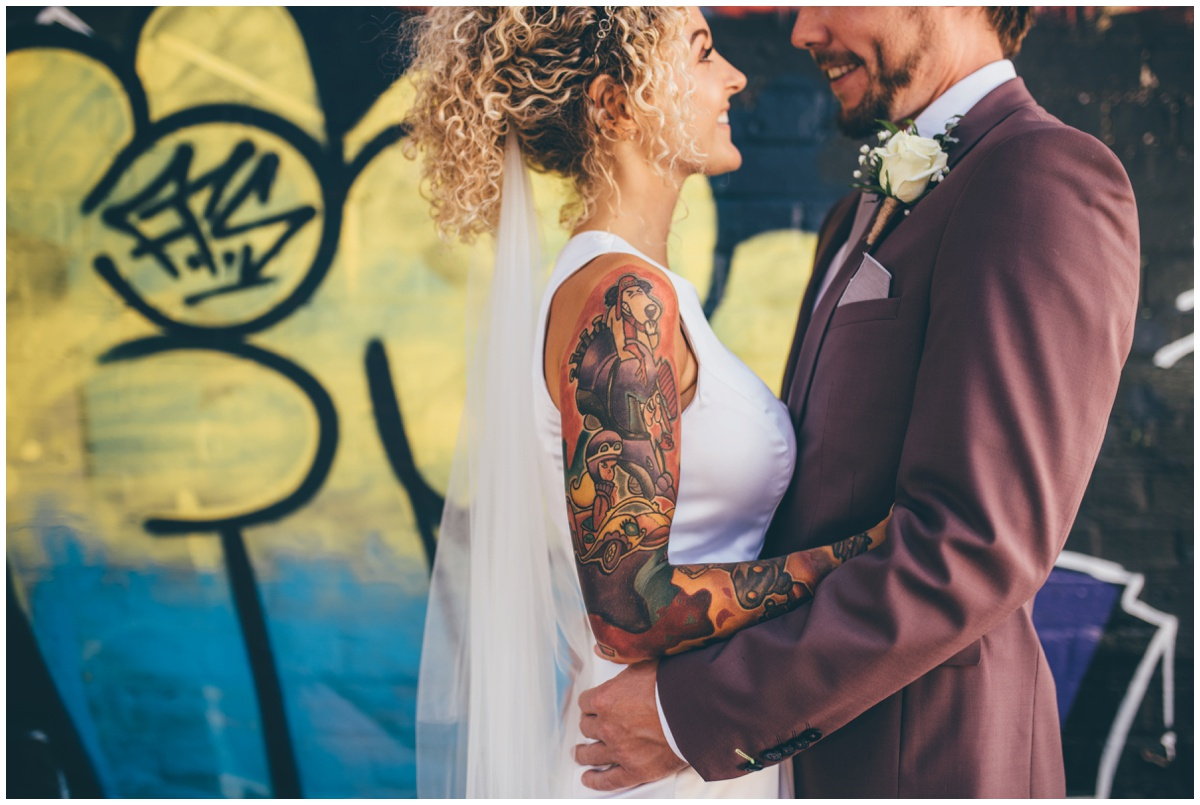 Bride's amazing Wacky Races sleeve tattoo.