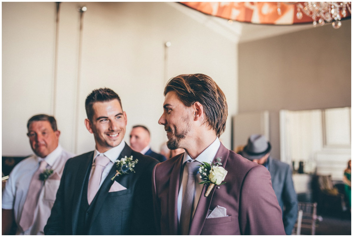 The groom and his best man wait for the bride at Oddfellows in Chester.