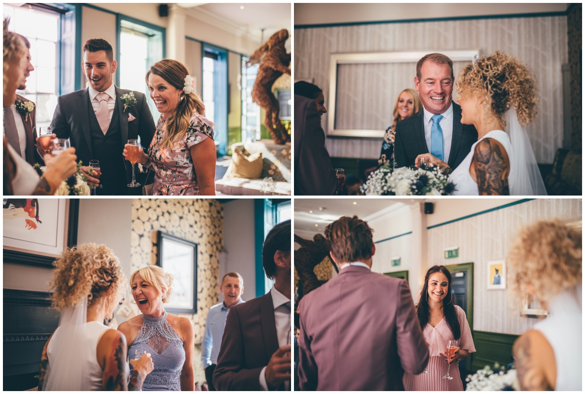 Bride and groom greet their wedding guests at Oddfellows in Chester.