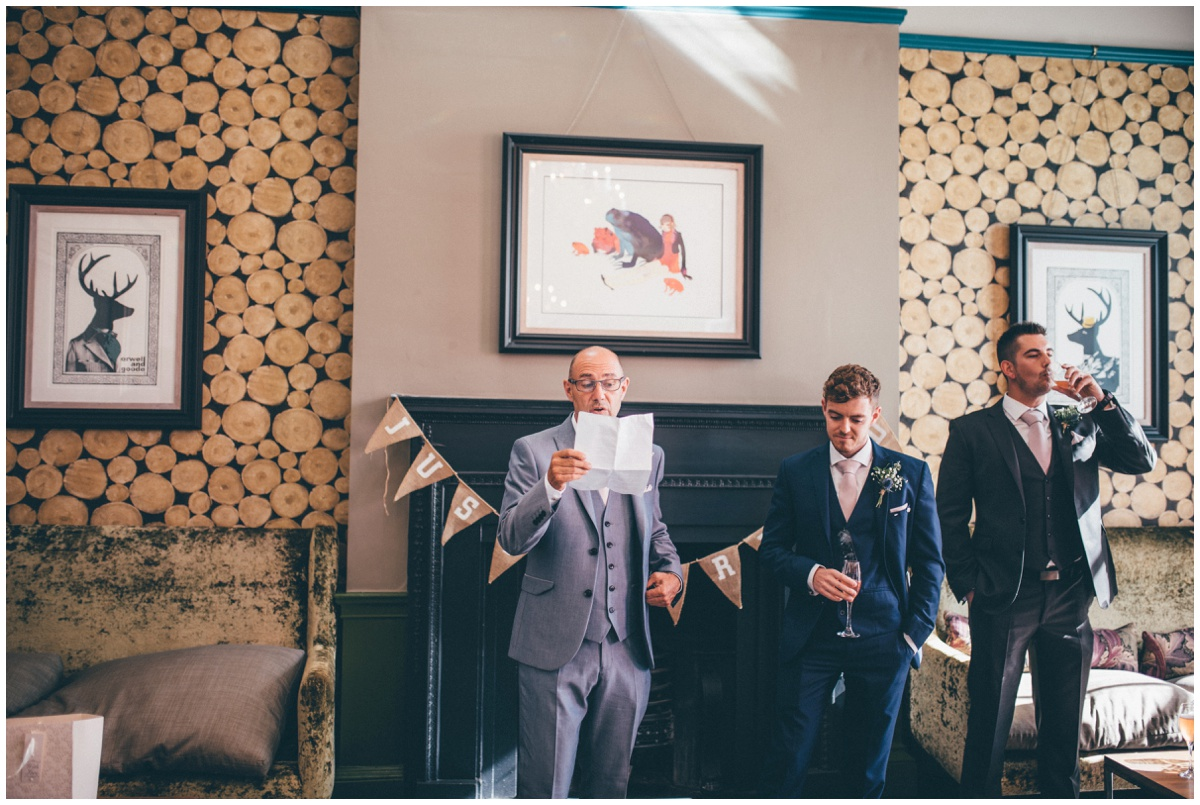 Bride's father does his speech at Oddfellows in Chester.