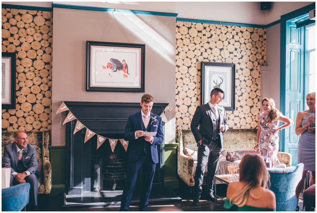 Wedding speeches at tattooed couples wedding in Oddfellows, Chester city centre.