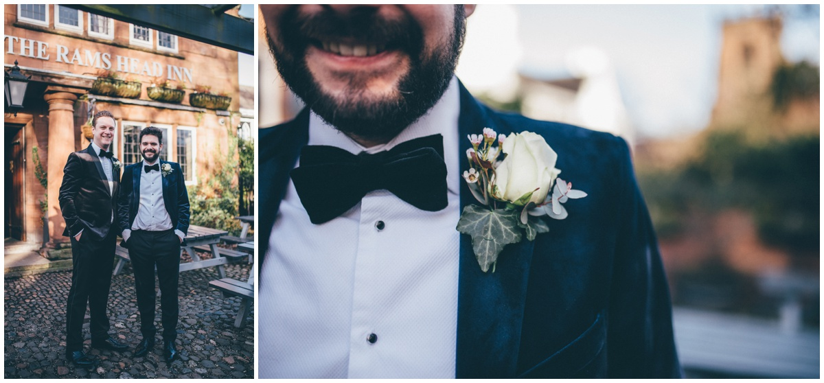 Groom's details of his black tie suit on his New Years Eve wedding.