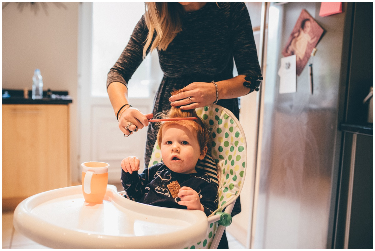 Page boy gets his hair done for Manchester wedding.