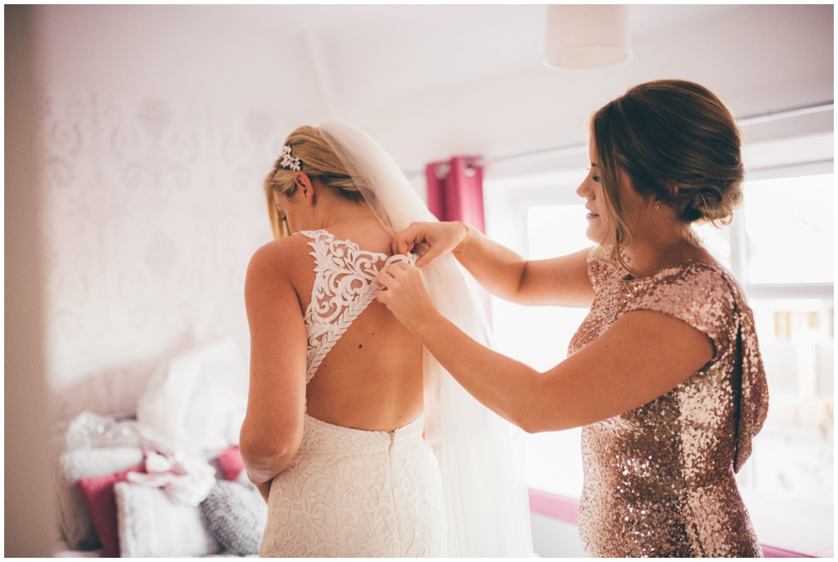 Bridal prep in Cheshire on the morning of New Years Eve wedding.