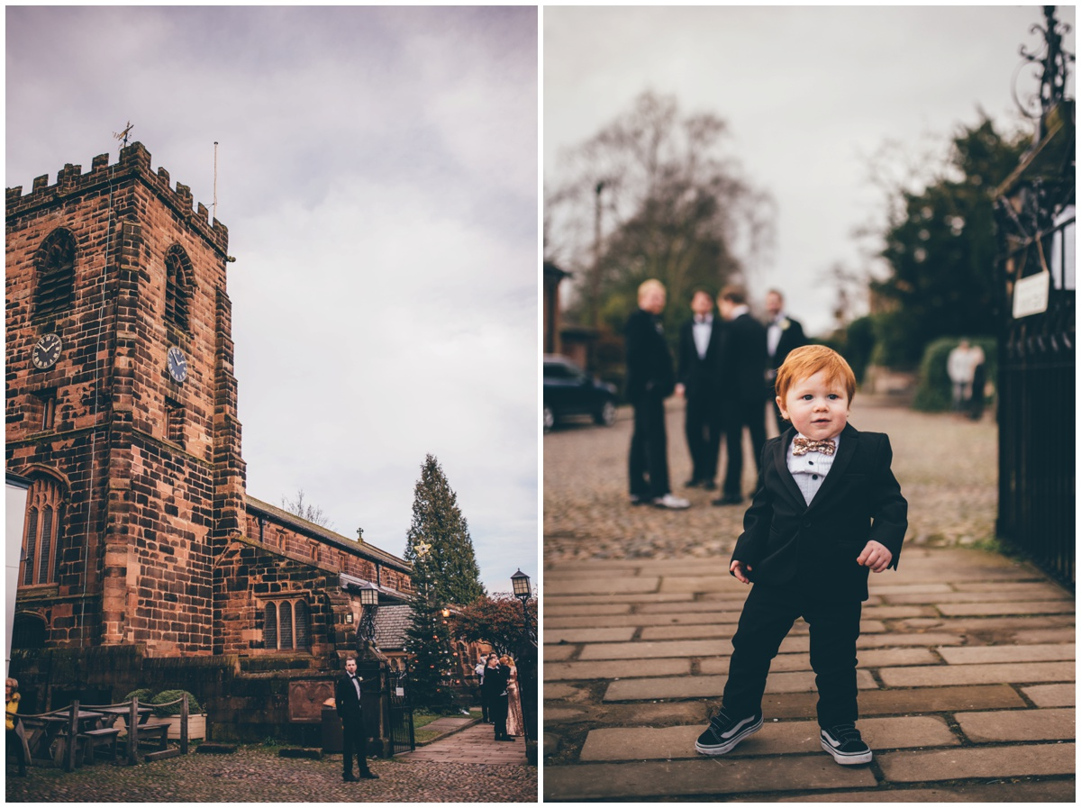 Church in Knutsford on New Years Eve wedding morning.