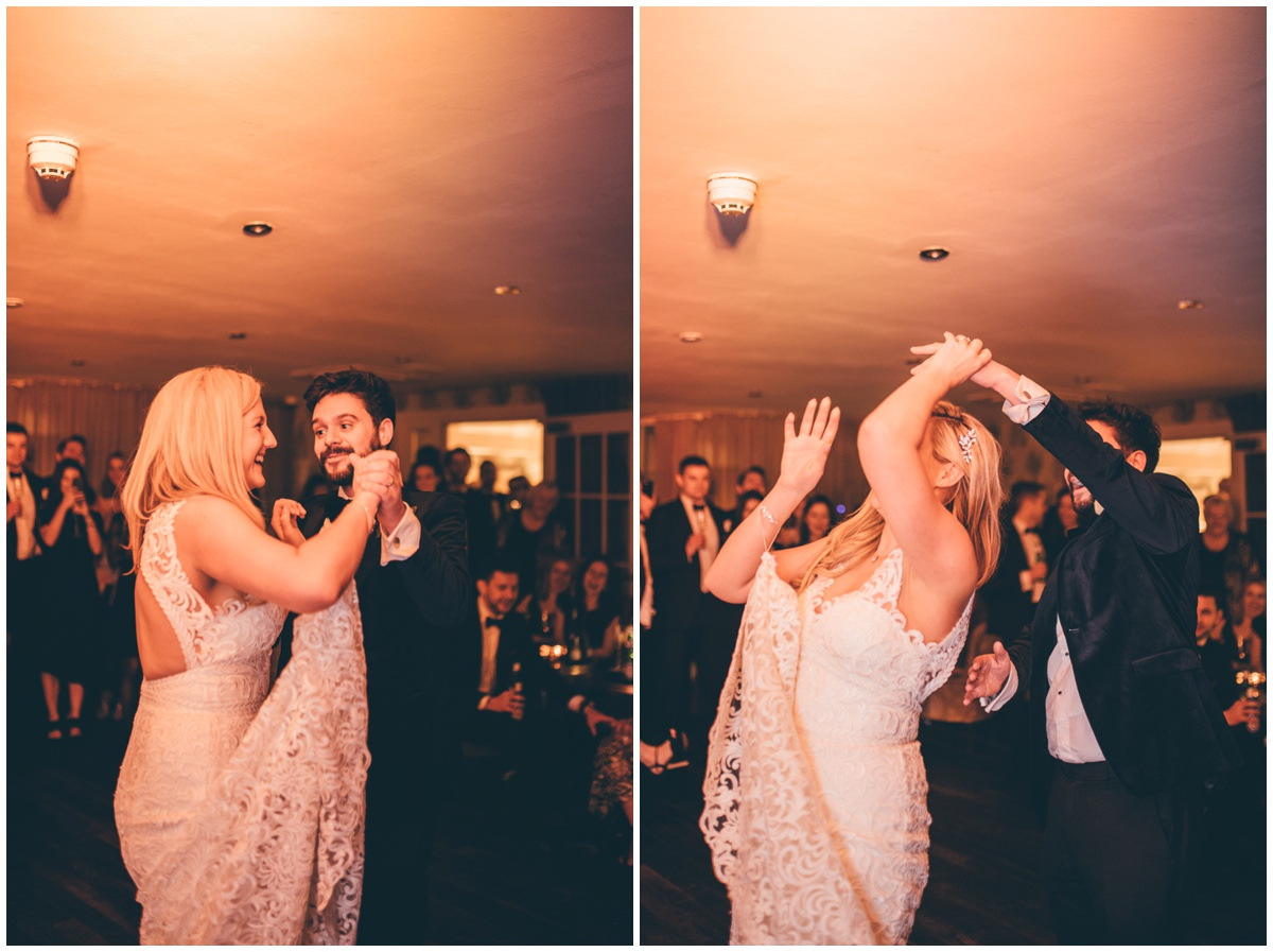 Bride and Groom share their First Dance at New Years Eve wedding at Great John Street Hotel in Manchester.