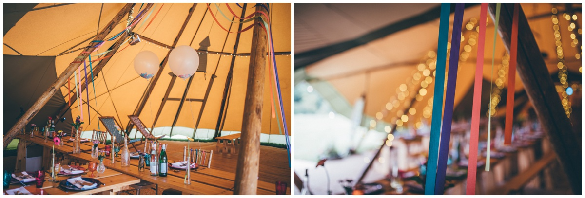 Interior of brightly coloured wedding tipi in Staffordshire.