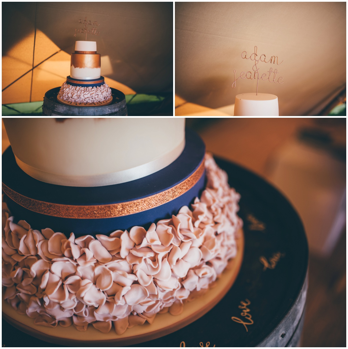 Stunning homemade wedding cake at a tipi wedding in Staffordshire.