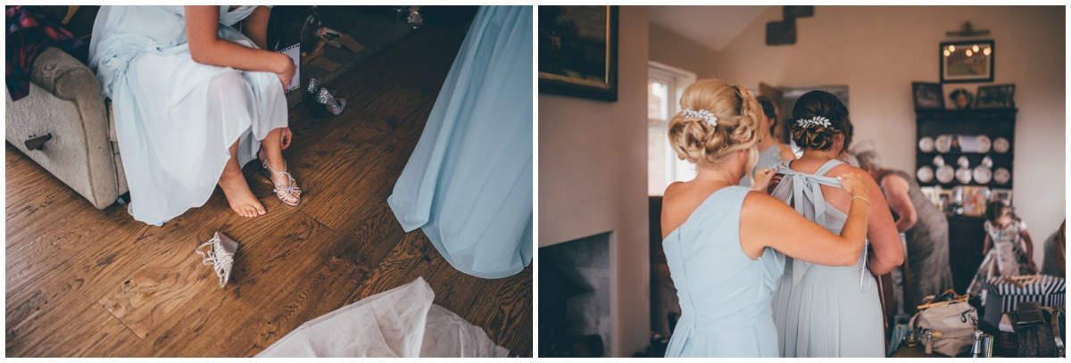 Beautiful blue bridesmaid dresses.